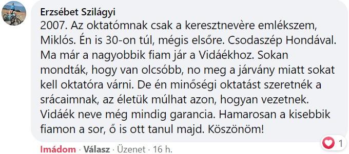 Vida Autósiskola Debrecen vélemény