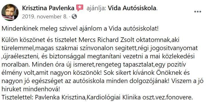 Vida Autósiskola Debrecen értékelés